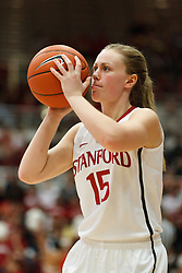 January 20, 2011; Stanford, CA, USA;  Stanford Cardinal guard Lindy La Rocque (15) warms up before the second half against the UCLA Bruins at Maples Pavilion.  Stanford defeated UCLA 64-38.