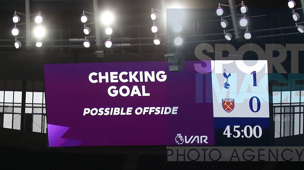 VAR announces they are checking the goal for offside  during the Premier League match at the Tottenham Hotspur Stadium, London. Picture date: 23rd June 2020. Picture credit should read: David Klein/Sportimage
