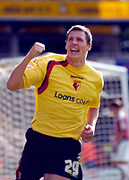 Photo: Leigh Quinnell.<br /> Watford v Sheffield United. Coca Cola Championship.<br /> 17/09/2005. Watfords Darius Henderson celebrates his second goal for Watford.