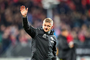 Manchester United Manager Ole Gunnar Solskjaer thanks fans at full time during the Europa League match between AZ Alkmaar and Manchester United at Kyocera Stadion, The Hague, Netherlands on 3 October 2019.
