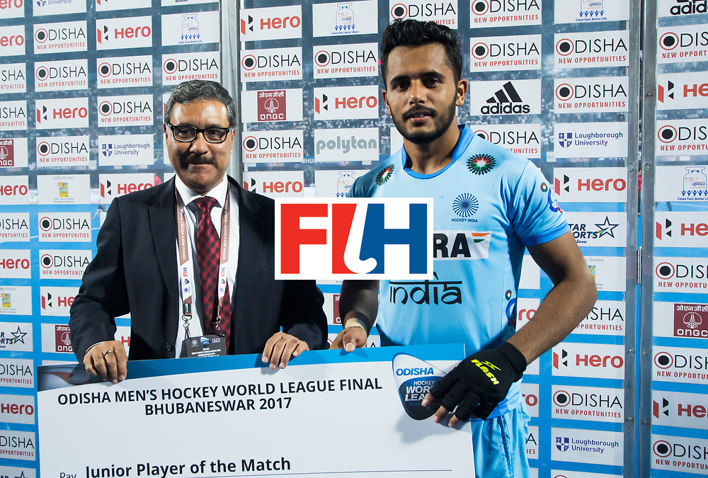 BHUBANESWAR - Hockey World League finals Match for bronze , Germany v India (1-2). Harmanpreet Singh (Ind) . COPYRIGHT KOEN SUYK