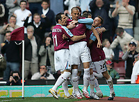Photo: Lee Earle.<br /> West Ham United v Middlesbrough. The Barclays Premiership. 31/03/2007.West Ham's Bobby Zamora (C) is congratulated after scoring their opening goal.