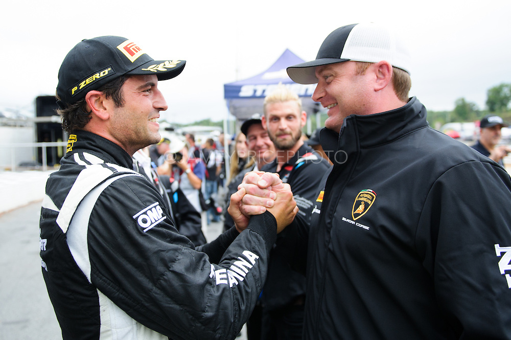 September 30- October 2, 2015: Lamborghini Super Trofeo, Road Atlanta. #50 Richard Antinucci hugs Robby Benton