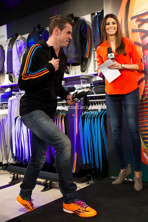 Gareth Bale presents his new boots Adidas Predator at Adidas Santiago Bernabeu Store on March 13, 2014 in Madrid