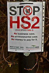 © Licensed to London News Pictures.  10/01/2012.WENDOVER, BUCKINGHAMSHIRE. An anti-HS2 protest sign, just yards from the proposed route of the HS2 high speed train line, displays a sign protesting against the impact the construction and completed line is expected to have on the Chilterns and Wendover in particular. Photo credit :  Cliff Hide/LNP