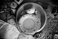 Some plates and cups are some household items the family have been able to gather since living in the camp. The flood water destroyed their house and all their belongings and they had to flee the area in a panic with nothing more then the clothes on their backs. Karachi, Pakistan, 2010