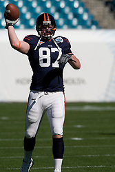 Virginia tight end Andrew Devlin (87) warms up for the Gator Bowl. The Texas Tech Red Raiders defeated the Virginia Cavaliers 31-28 in the 2008 Konica Menolta Gator Bowl held at the Jacksonville Municipal Stadium in Jacksonville, FL on January 1, 2008.