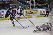 KELOWNA, CANADA - SEPTEMBER 28:  Jack Cowell #8 of Kelowna Rockets plays the puck forward at the Kelowna Rockets game on September 28, 2016 at Prospera Place in Kelowna, British Columbia, Canada.  (Photo By Cindy Rogers/Nyasa Photography,  *** Local Caption *** Ryan Schoettler #16 of Prince George Cougars, Shane Collins #19 of Prince George Cougars
