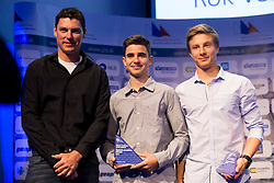 Vasilij Zbogar, Klemen Semelbauer and Rok Verderber at ceremony of Slovenia Sailing Federation for best Sailor in 2017, on February 7, 2018 in Ljubljana castle, Ljubljana, Slovenia. Photo by Urban Urbanc / Sportida