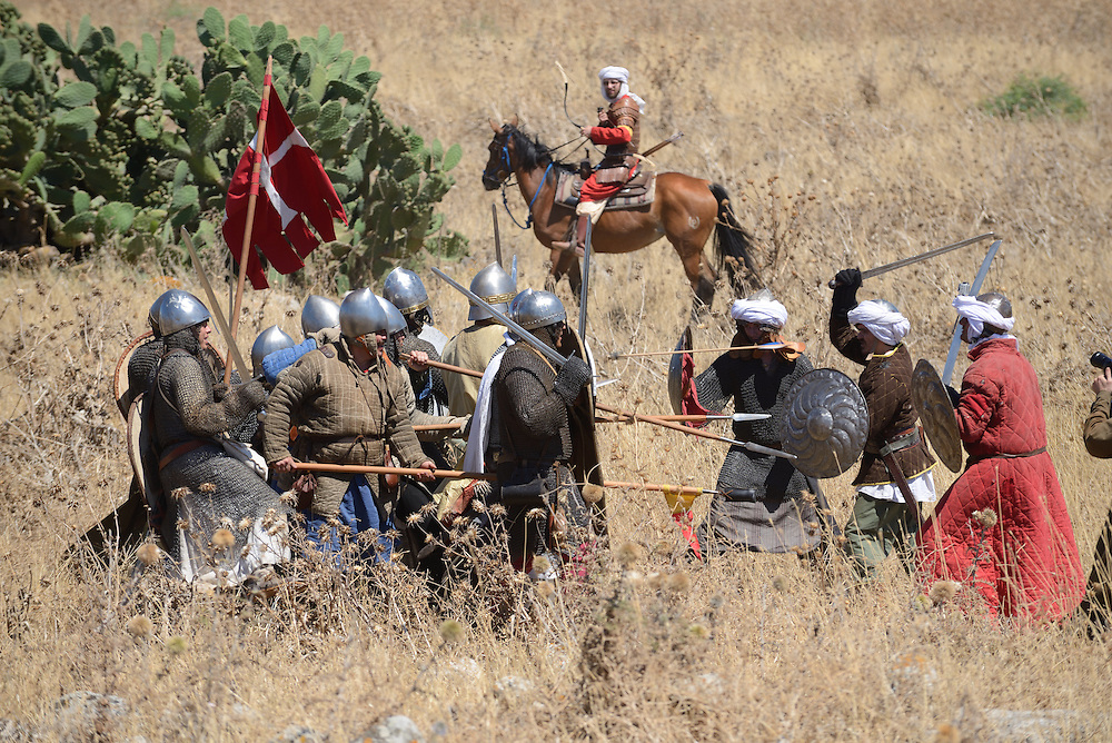 Israelis take part in the reenactment of the Hattin Battle in Horns of Hattin, North of Israel on July 4'th 2015.  The Battle of Hattin took place on July 3 and 4, 1187, between the Crusader Kingdom of Jerusalem and the forces of the Kurdish Ayyubid sultan Salah ad-Din, known in the West as Saladin. <br /> The Muslim armies under Saladin captured or killed the vast majority of the Crusader forces, removing their capability to wage war.As a direct result of the battle, Islamic forces once again became the eminent military power in the Holy Land, re-conquering Jerusalem and several other Crusader-held cities.These Christian defeats prompted the Third Crusade, which began two years after the Battle of Hattin. Photo by Gili Yaari <br /> **ISRAEL OUT UNTIL JULY 11'TH, 2015**