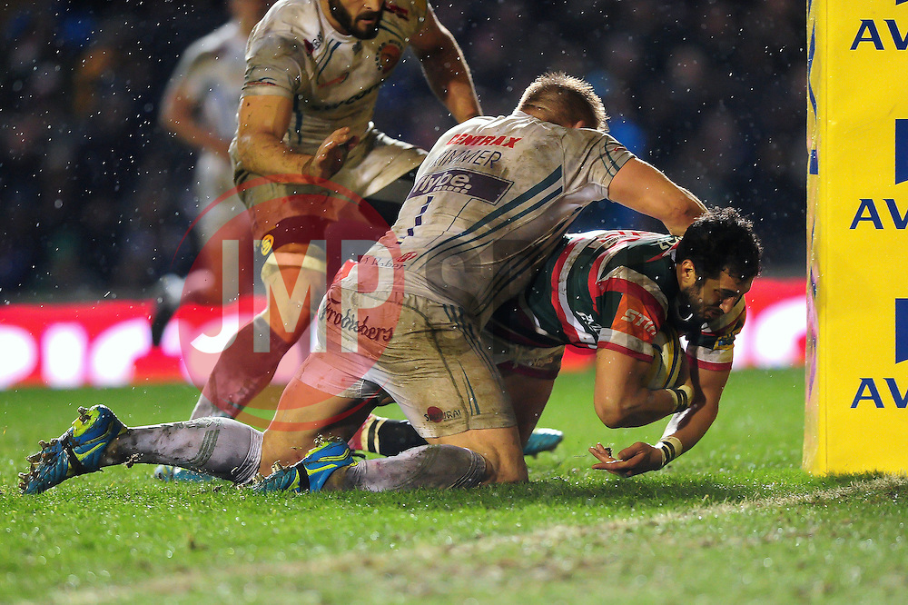 Maxime Mermoz of Leicester Tigers reaches for the try-line - Mandatory byline: Patrick Khachfe/JMP - 07966 386802 - 03/03/2017 - RUGBY UNION - Welford Road - Leicester, England - Leicester Tigers v Exeter Chiefs - Aviva Premiership.