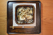 Mushroom casserole (porcini and morel   mushrooms, tofu, goma-fu, ginger, sansho powder) at Kajitsu, 125 E. 39th St., New York.