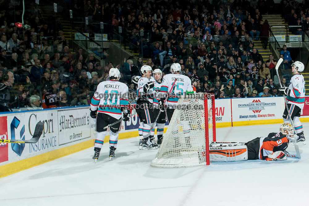 KELOWNA, CANADA - JANUARY 23: The Kelowna Rockets celebrate a goal against Nick Schneider #31 of Medicine Hat Tigers on January 23, 2016 at Prospera Place in Kelowna, British Columbia, Canada.  (Photo by Marissa Baecker/Shoot the Breeze)  *** Local Caption *** Nick Schneider;