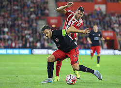 Jay Rodriguez of Southampton and Erik Sviatchenko of FC Midtjylland challenge for the ball  - Mandatory byline: Paul Terry/JMP - 07966386802 - 20/08/2015 - FOOTBALL - ST Marys Stadium -Southampton,England - Southampton v FC Midtjylland - EUROPA League Play-Off Round