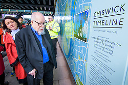&copy; Licensed to London News Pictures. <br /> 28/1/2018. London, Great Britain.  <br /> Sir Peter Blake opens The Chiswick Timeline, a history in art and Maps watched by the Mayor of Hounslow, Clr. Sue Sampson on the right<br /> 16 large historic maps and 23 works of art by leading artists showing Chiswick landmarks.<br /> The Chiswick Timeline celebrates the history of a part of London that was once a village west of the capital on the banks of the River Thames.<br /> The landmark work of art is situated under the railway bridges under Turnham Green tube station.<br /> <br /> Photo credit: Anthony Upton/LNP