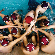 September 29, 2010 - Bronx, NY : The Horace Mann water polo team were overcome by a dominant St. Benedict's squad in their Sept. 29 matchup. The team huddles together between quarters.