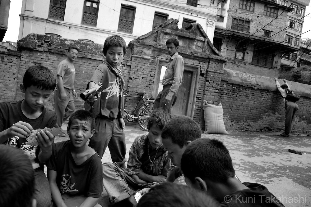 Street children in Kathmandu, Nepal, on May 2010.<br /> Photo by Kuni Takahashi