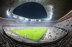 THEMENBILD - die Allianz Arena in Muenchen, im Bild die ALLIANZ ARENA am Abend, Innenansicht mit Spielfeld, leere Tribuenen, Bild aufgenommen am 16.04.2013, Allianz Arena, Muenchen, Deutschland. EXPA Pictures © 2013, PhotoCredit: EXPA/ Eibner/ Bert Harzer..***** ATTENTION - OUT OF GER *****