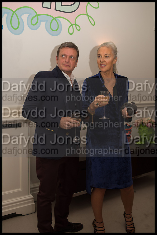 TOM CHAPMAN; RUTH CHAPMAN, Frieze dinner  hosted at by Valeria Napoleone for  Marvin Gaye Chetwynd, Anne Collier and Studio Voltaire 20th anniversary autumn programme. Kensington. London. 14 October 2014.