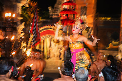Traditional Balinese Kecak dance in bright costumes, Bali,Indonesia
