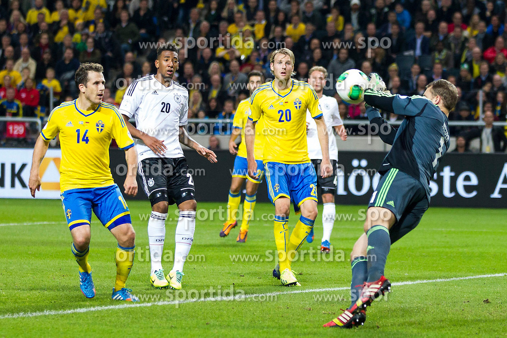 15.10.2013, Friends Arena, Stockholm, SWE, FIFA WM Qualifikation, Schweden vs Deutschland, Gruppe C, im Bild, Germany m&aring;lvakt goalkeeper 1 Manuel Neuer with a save on goal,  // during the FIFA World Cup Qualifier Group C Match between Sweden and Germany at the Friends Arena, Stockholm, Sweden on 2013/10/15. EXPA Pictures &copy; 2013, PhotoCredit: EXPA/ PicAgency Skycam/ Michael Campanella<br /> <br /> ***** ATTENTION - OUT OF SWE *****