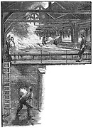 South Durham Salt Works, England. Shovelling salt from pans in which brine pumped up from borehole was evaporated (top). Stoking the furnace heating the evaporating tanks (bottom). Engraving, 1884