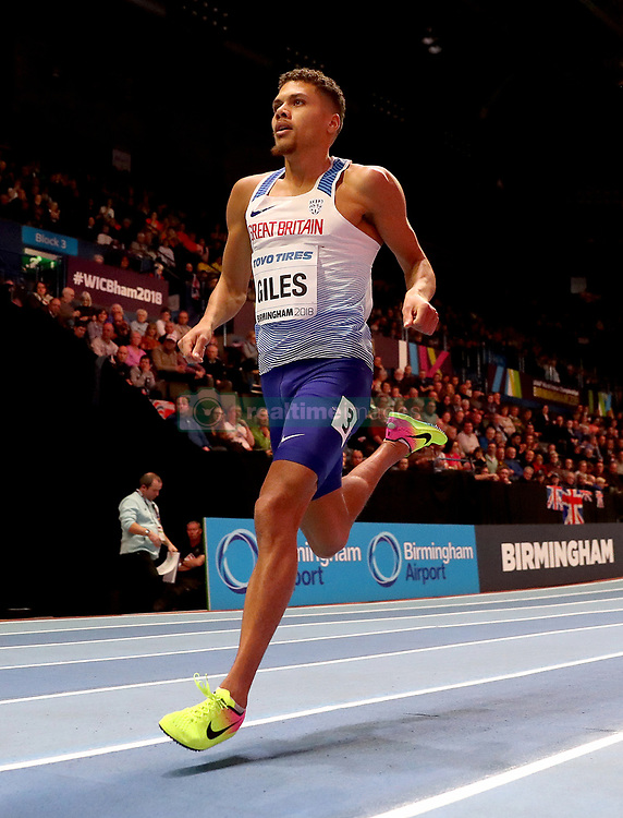 Great Britain's Elliot Giles during the Men's 800m Heat 1 during day two of the 2018 IAAF Indoor World Championships at The Arena Birmingham.