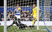 Leeds United striker Chris Wood ruins his chance by beating both QPR Goalkeeper Robert Green and the goal post during the Sky Bet Championship match between Queens Park Rangers and Leeds United at the Loftus Road Stadium, London, England on 28 November 2015. Photo by Andy Walter