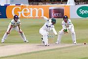 Hassan Azad cover drives during the Specsavers County Champ Div 2 match between Gloucestershire County Cricket Club and Leicestershire County Cricket Club at the Cheltenham College Ground, Cheltenham, United Kingdom on 18 July 2019.