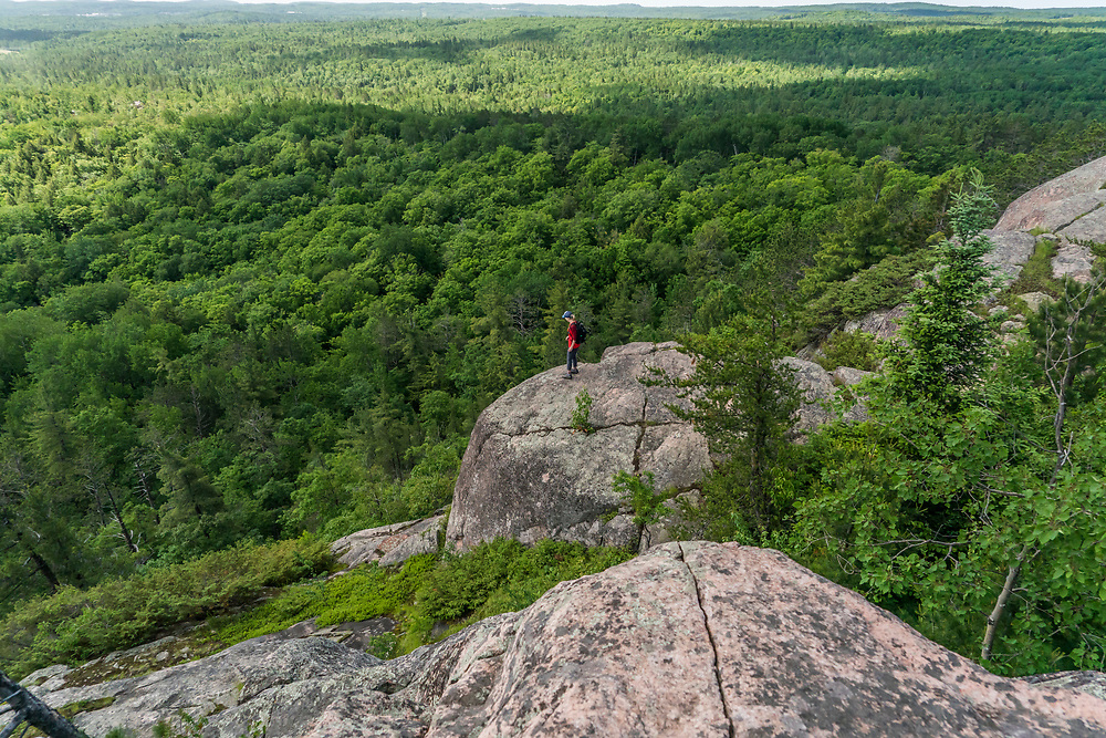 Hiking Hogback Mountain near Marquette, Michigan.