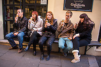 Rome, Italy - December 12, 2014: A group of friends from England enjoy gelato at Come il Latte in Rome. Come il Latte is an artisnal gelateria that focuses on quality ingredients rather than outrageous flavors. CREDIT: Chris Carmichael for The New York Times