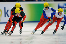 14-01-2011 SHORTTRACK: ISU EUROPEAN SHORTTRACK SPEEDSKATING CHAMPIONSHIPS: HEERENVEEN<br /> Germany Robert Seifert and France on 5000m relay<br /> ©2011-WWW.FOTOHOOGENDOORN.NL