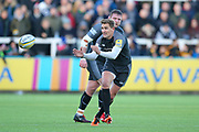 Newcastle Falcons Fly-half Toby Flood (10) receives the ball during the Aviva Premiership match between Newcastle Falcons and Leicester Tigers at Kingston Park, Newcastle, United Kingdom on 29 October 2017. Photo by Simon Davies.