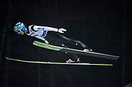 Poland, Wisla Malinka - 2017 November 18: Michael Hayboeck from Austria soars in the air during FIS Ski Jumping World Cup Wisla 2017/2018 - Day 1 at jumping hill of Adam Malysz on November 18, 2017 in Wisla Malinka, Poland.<br /> <br /> Mandatory credit:<br /> Photo by © Adam Nurkiewicz<br /> <br /> Adam Nurkiewicz declares that he has no rights to the image of people at the photographs of his authorship.<br /> <br /> Picture also available in RAW (NEF) or TIFF format on special request.<br /> <br /> Any editorial, commercial or promotional use requires written permission from the author of image.