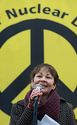 © Licensed to London News Pictures. 27/02/2016. London, UK. Green Party MP Caroline Lucas speaks at a CND rally in Trafalgar Square. Thousands of protestors calling for the Trident nuclear deterrent to be scrapped have marched from Hyde Park to hear speeches from senior politicians and other campaigners. Photo credit: Peter Macdiarmid/LNP
