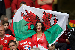 LILLE, FRANCE - Friday, July 1, 2016: Wales supporters in the stands ahead of the UEFA Euro 2016 Championship Quarter-Final match  against Belgium at the Stade Pierre Mauroy. (Pic by Paul Greenwood/Propaganda)
