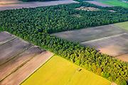 Nederland, Noord-Brabant, Peel, 27-05-2013;<br /> Griendtsveen met Defensie- of Peelkanaal (verborgen tussen de bomen), restant van een kazemat in het veld.  Peel-Raamstelling.<br /> Former bog - defense line Peel.<br /> luchtfoto (toeslag op standard tarieven)<br /> aerial photo (additional fee required)<br /> copyright foto/photo Siebe Swart