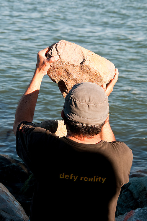 California; Sausalito; rock balance artist; Bill Dan; waterfront; sculptor; sculpture, USA.  Photo copyright Lee Foster.  Photo # california107981