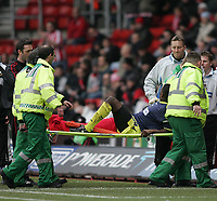 Photo: Lee Earle.<br /> Southampton v Derby County. Coca Cola Championship. 04/02/2006. Derby's Michael Johnson gets stretchered off.