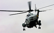 Presidential helicopter leaves London with President George W Bush on board after his official visit to the UK