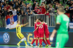 Players of Serbia celebrate goal during futsal match between Serbia and Italy at Day 3 of UEFA Futsal EURO 2018, on February 1, 2018 in Arena Stozice, Ljubljana, Slovenia. Photo by Urban Urbanc / Sportida