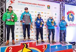 20.01.2017, Hahnenkamm, Kitzbühel, AUT, FIS Weltcup Ski Alpin, Kitzbuehel, Super G, Herren, Siegerehrung, im Bild v.l.: Christof Innerhofer (ITA, 2. Platz), Sieger Matthias Mayer (AUT), Beat Feuz (SUI, 3. Platz), Aleksander Aamodt Kilde (NOR, 4. Platz), Max Franz (AUT, 5. Platz) // f.l.: 2nd placed Christof Innerhofer of Italy Winner Matthias Mayer of Austria 3rd placed Beat Feuz of Switzerland 4th placed Aleksander Aamodt Kilde of Norway 5th placed Max Franz of Austria during the winner Ceremony for the men's SuperG of FIS Ski Alpine World Cup at the Hahnenkamm in Kitzbühel, Austria on 2017/01/20. EXPA Pictures © 2017, PhotoCredit: EXPA/ Johann Groder
