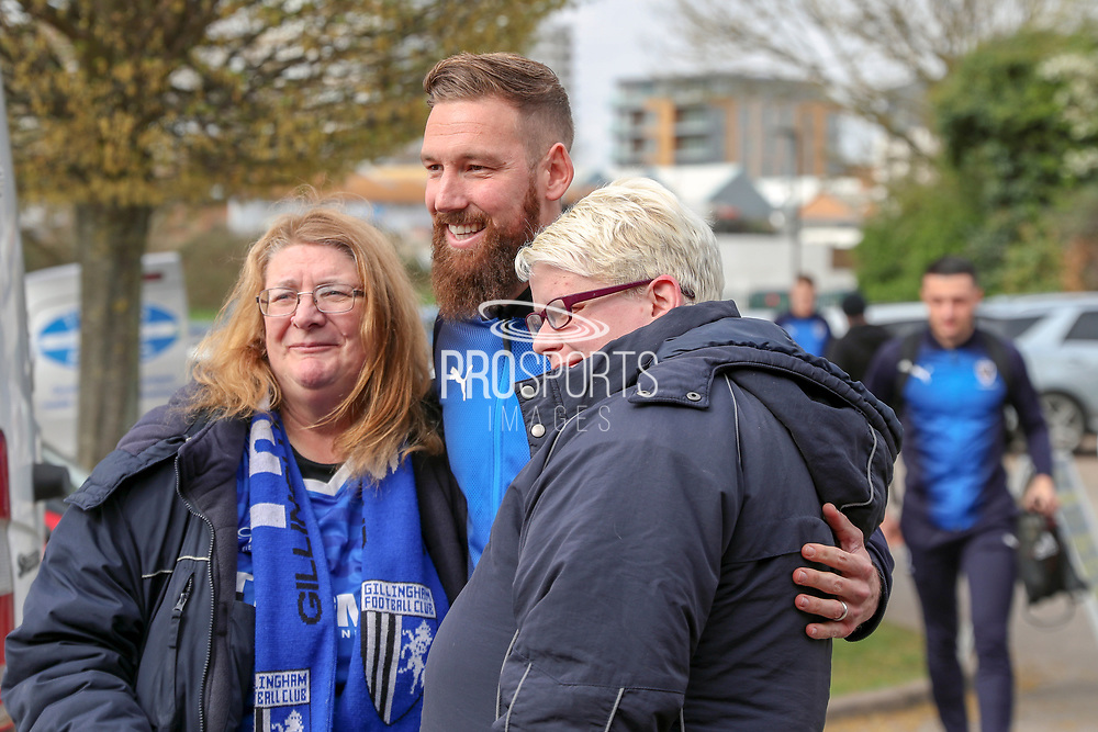 AFC Wimbledon midfielder Scott Wagstaff (7) posing with Gillingham fans during the EFL Sky Bet League 1 match between AFC Wimbledon and Gillingham at the Cherry Red Records Stadium, Kingston, England on 23 March 2019.