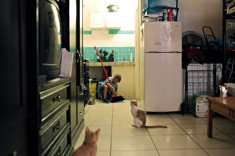 MELISSA LYTTLE | Times<br /> Before starting on his homework, second grader Leland Steffan, 7, does his afternoon chores which include feeding the cats and cleaning out their litter box in -- which was part of the tradeoff for getting cats was that he'd help take care of them, said his mom, who likes the one-room that they all share to be kept tidy.