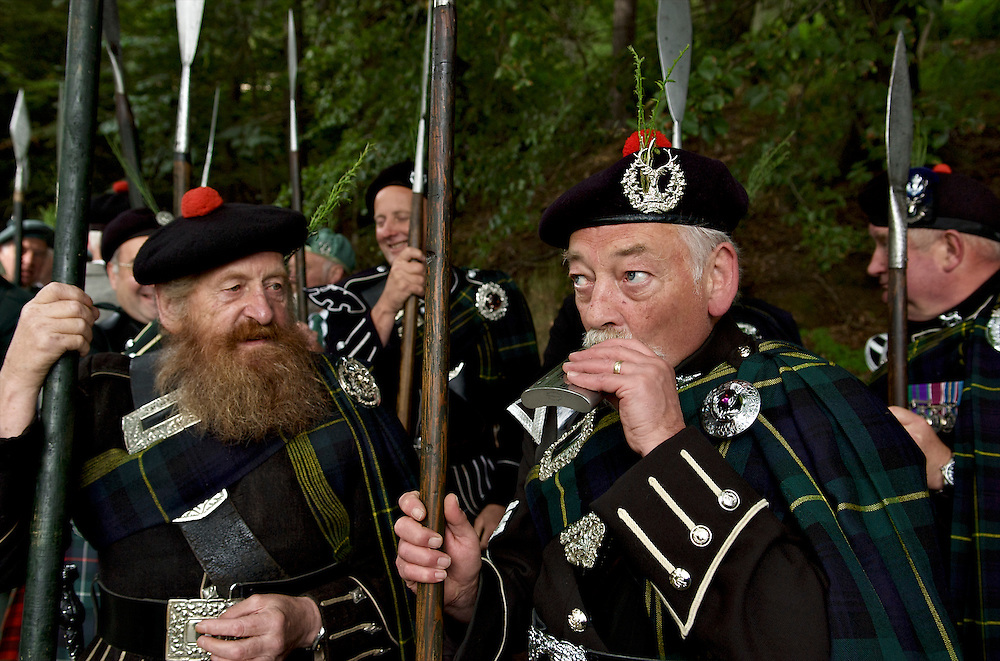 March of the Lonach Highlanders and the Lonach Gathering are one of the great Highland games in Scotand.  Morning includes the march as the clans go from country house to country house where their hosts toast them with a wee dram of hospitality, otherwise known as whisky.