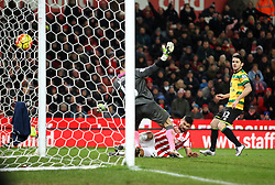 Jonathan Walters of Stoke City scores his sides opening goal past Declan Rudd of Norwich City - Mandatory byline: Robbie Stephenson/JMP - 13/01/2016 - FOOTBALL - Britannia Stadium - Stoke, England - Stoke City v Norwich City - Barclays Premier League