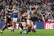 Leeds Rhinos prop forward Anthony Mullally (16) trys to break the line during the Betfred Super League match between Hull FC and Leeds Rhinos at Kingston Communications Stadium, Hull, United Kingdom on 19 April 2018. Picture by Mick Atkins.