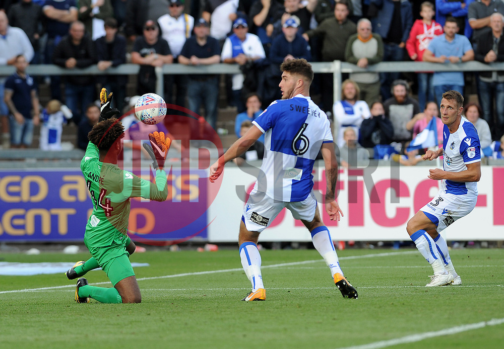 Alexis Andre-Jr of Bristol Rovers makes a save as Ryan Sweeney and Lee Brown look on - Mandatory by-line: Neil Brookman/JMP - 09/09/2017 - FOOTBALL - Memorial Stadium - Bristol, England - Bristol Rovers v Walsall - Sky Bet League One