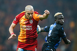 November 26, 2019, Galatasaray, Turkey: Galatasaray's Sofiane Feghouli and Club's Krepin Diatta fight for the ball during a game between Turkish club Galatasaray and Belgian soccer team Club Brugge, Tuesday 26 November 2019 in Istanbul, Turkey, fifth match in Group A of the UEFA Champions League. (Credit Image: © Bruno Fahy/Belga via ZUMA Press)