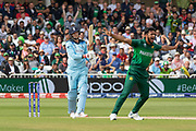 Joe Root survives LBW appeal from Mohammad Amir during the ICC Cricket World Cup 2019 match between England and Pakistan at Trent Bridge, West Bridgford, United Kingdon on 3 June 2019.